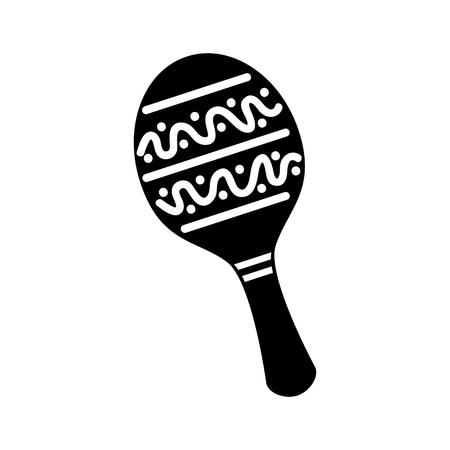 maraca mexican music instrument celebration carnaval vector illustration