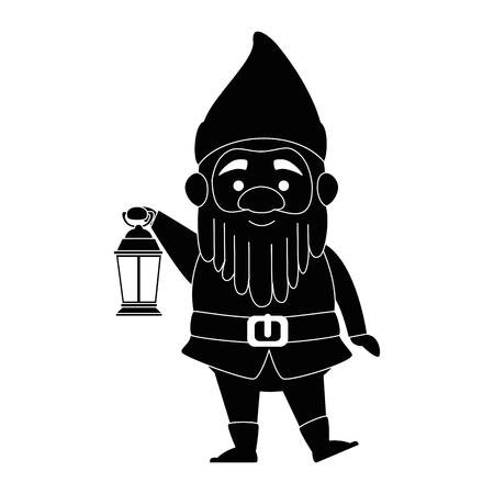 schattig elf met mijnwerker lamp karakter vector illustratie ontwerp
