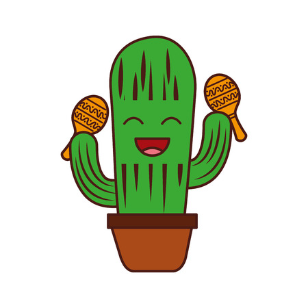 cartoon happy potted cactus with maracas celebration mexican vector illustration Illustration