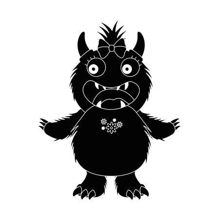 vrouwelijk bontontwerp van de monsterkarakter vectorillustratie Vector Illustratie