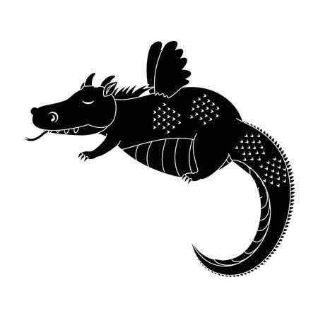 fantasy dragon with wings vector illustration design Ilustração