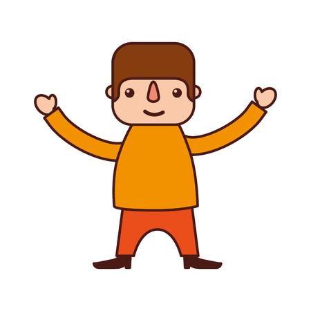 mexican man cartoon standing character vector illustration