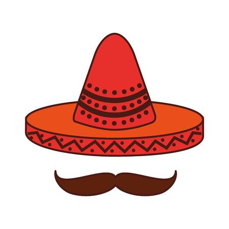 Chapeau mexicain et le symbole de la coiffe de la moustache illustration vectorielle Banque d'images - 88438134