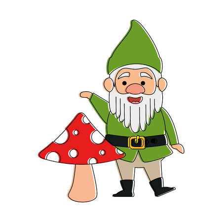cute elf with mushroom character vector illustration design