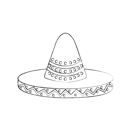 mexican hat carnival costume headdress vector illustration Banco de Imagens - 88437993