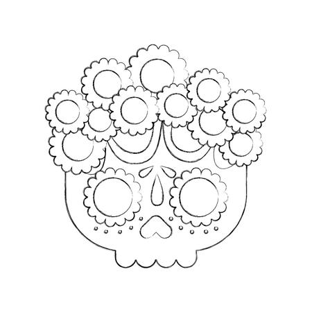 頭蓋骨の花死の日メキシコの伝統文化ベクトルイラスト  イラスト・ベクター素材