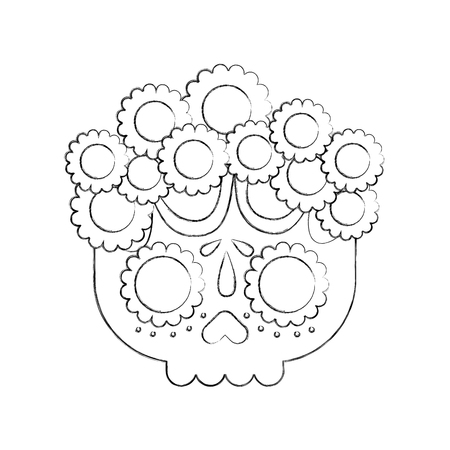 skull flowers the day of the death mexican traditional culture vector illustration 版權商用圖片 - 88438008