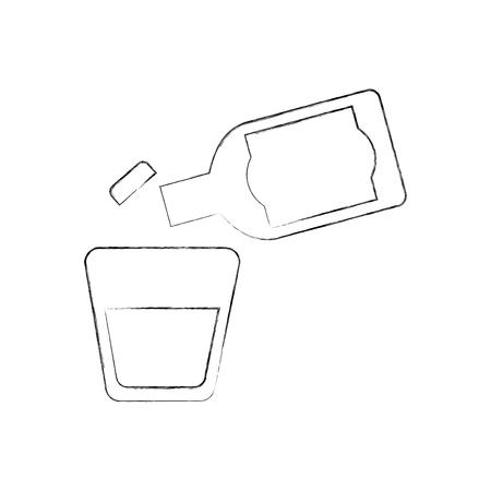 テキーラアルコールカクテルベクトルイラストのガラスとボトル  イラスト・ベクター素材