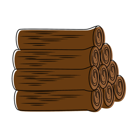 pile wooden trunks icon vector illustration design
