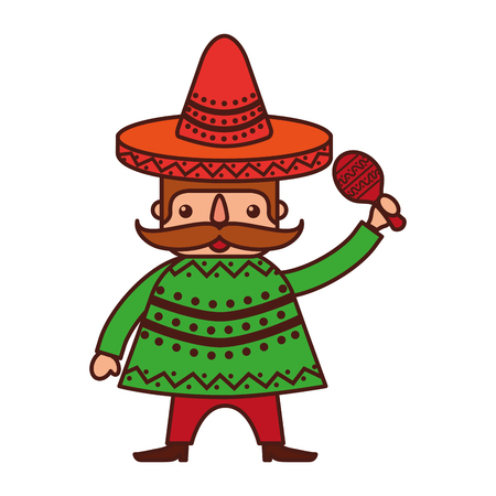 マラカスや伝統的な衣装のベクトル イラストでメキシコ人男性