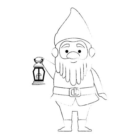 schattige gnome met mijnwerker lamp karakter vector illustratie ontwerp