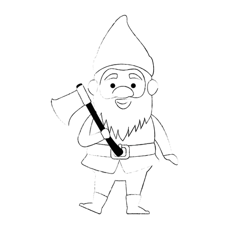 cute gnome with woodcutter ax character vector illustration design Illustration
