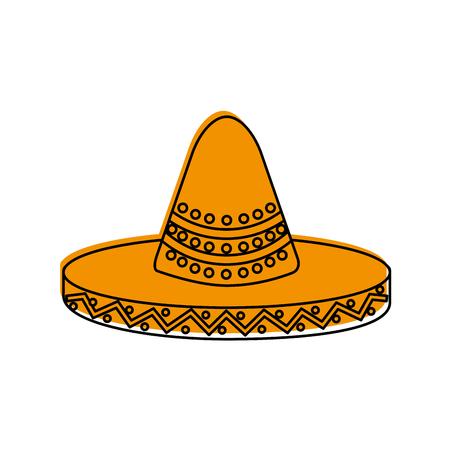 mexican hat carnival costume headdress vector illustration