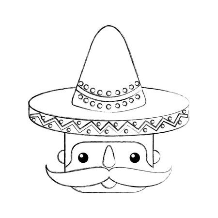Mexikanisches Manngesicht mit Hut- und Schnurrbartporträt-Vektorillustration Standard-Bild - 88440104