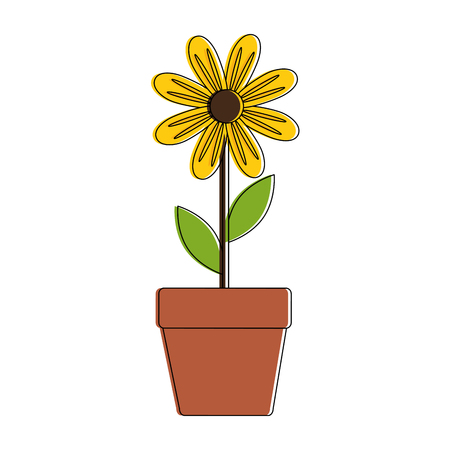 cute sunflower plant in pot vector illustration design Ilustração