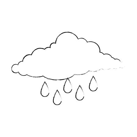 cloud sky silhouette with rain drops vector illustration design