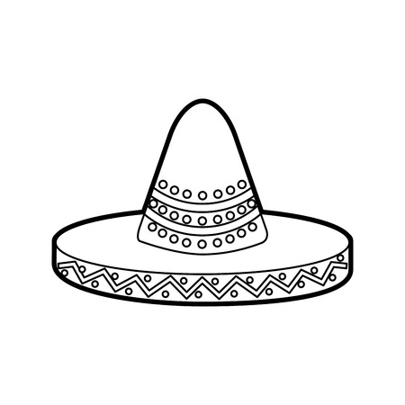 Mexikanische Hut Karneval Kostüm Kopfschmuck Vektor-Illustration Standard-Bild - 88442323