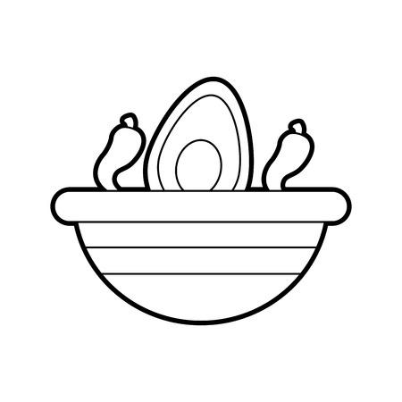 멕시코 음식 그릇 아보카도 칠리 고추 신선한 전통 벡터 일러스트 레이션 스톡 콘텐츠 - 88442330