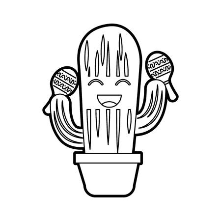 Cartoon cactus en peluche heureux avec des framboises célébration mexicaine illustration vectorielle Banque d'images - 88442376