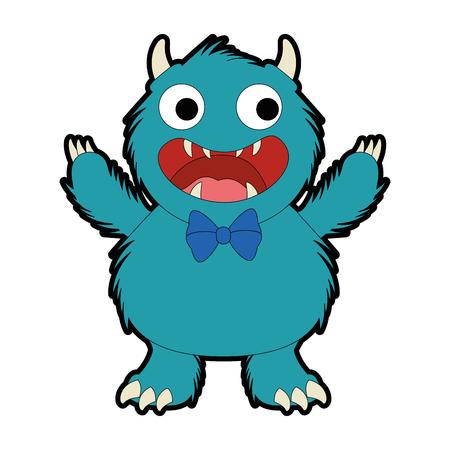 mannelijk harig ontwerp van de het karakter vectorillustratie van het monster Vector Illustratie