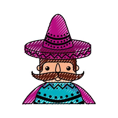 모자와 콧수염 재미있는 멕시코 남자 만화 벡터 일러스트 레이션