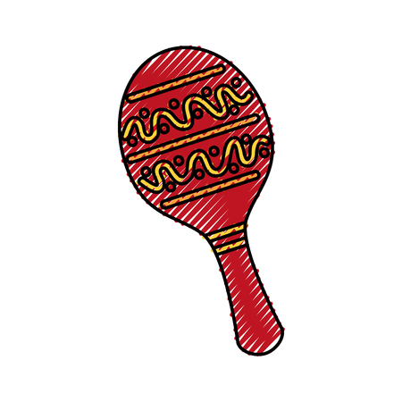 maracas mexican music instrument celebration carnaval vector illustration