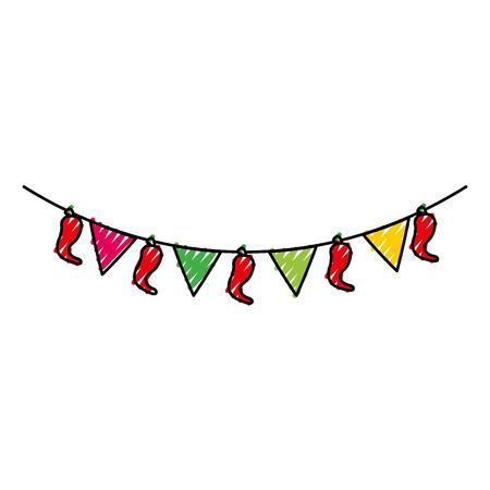Mexicaanse garland met banner en chili peper decoratie vectorillustratie