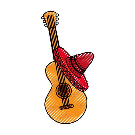 멕시코 기타와 모자 전통 악기 뮤지컬 벡터 일러스트 레이션