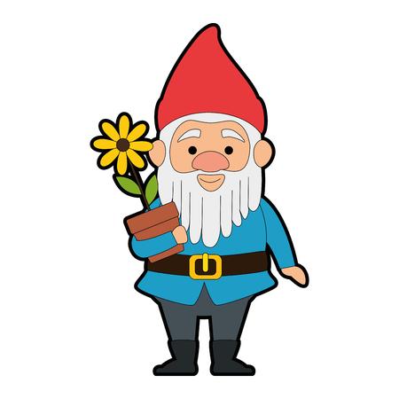 cute elf with flower plant character vector illustration design Illustration