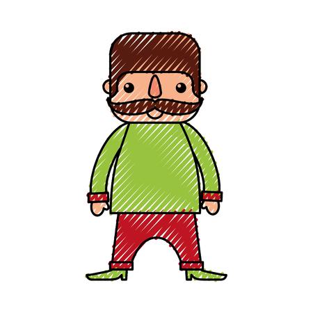콧수염과 만화 멕시코 사람이 서 문자 벡터 일러스트 레이션 일러스트