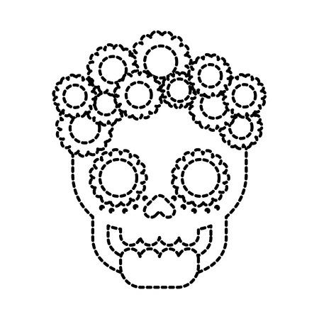 두개골 꽃 죽음의 날 멕시코 전통 문화 벡터 일러스트 레이션