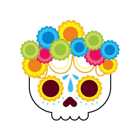 Flores de calavera el día de la muerte ilustración de vector de cultura tradicional mexicana Foto de archivo - 88447820