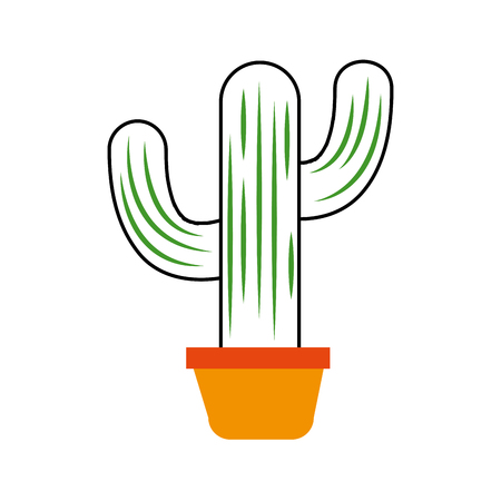 mexican potted cactus natural plant decoration vector illustration