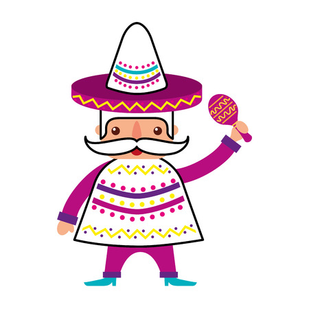 mexican man with maraca and traditional costume vector illustration