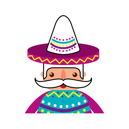 funny mexican man with hat and mustache cartoon vector illustration