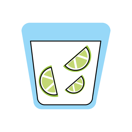 tequila shot with lime slice drink liquor mexican vector illustration