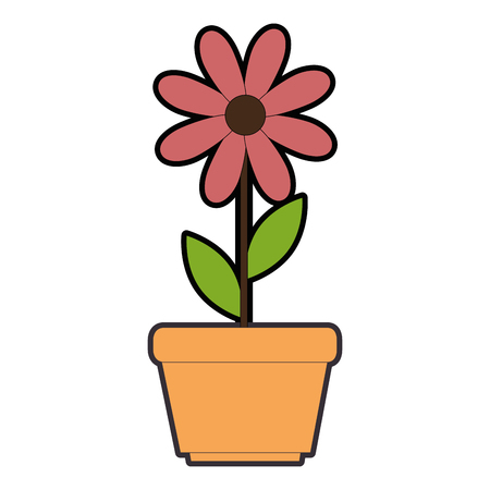 cute sunflower plant in pot vector illustration design Illustration