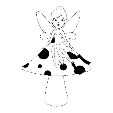 beautiful fairy in mushroom character vector illustration design