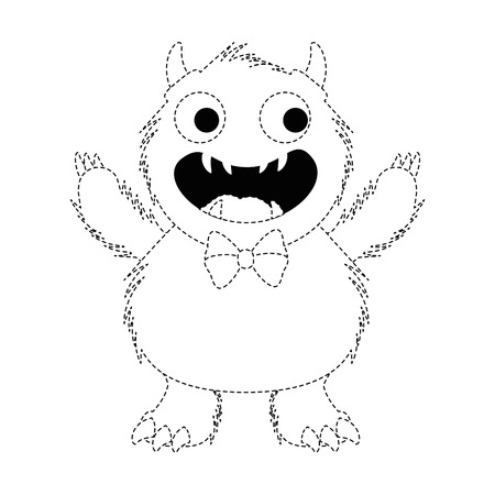 male furry monster character vector illustration design