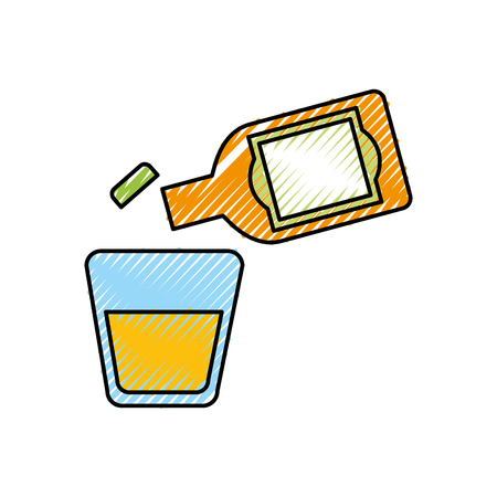 glass and bottle of tequila alcoholic cocktail vector illustration Illustration