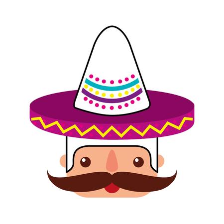 帽子と口ひげポートレートベクトルイラストとメキシコ人の顔