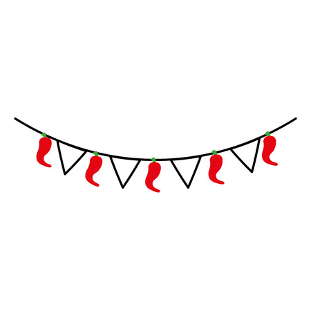 mexican garland with banner and chili pepper decoration vector illustration