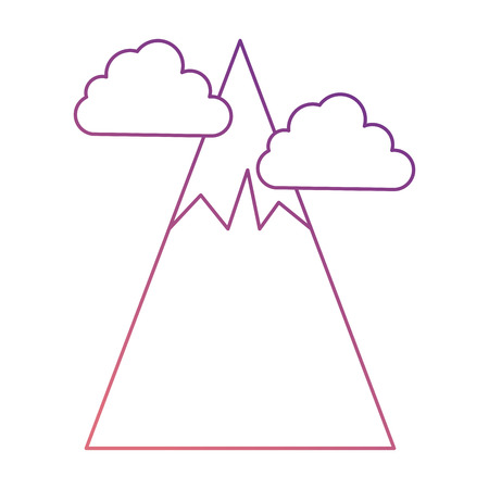 big mountains with clouds vector illustration design