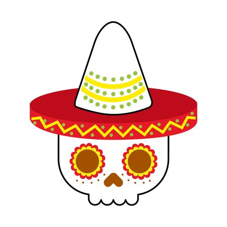 skull in hat day of the dead mexican celebration vector illustration Illustration