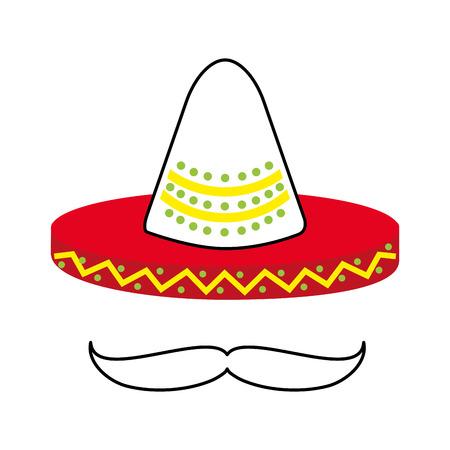 メキシカン ハットと口ひげ文化シンボル ベクトル イラスト 写真素材 - 88448245