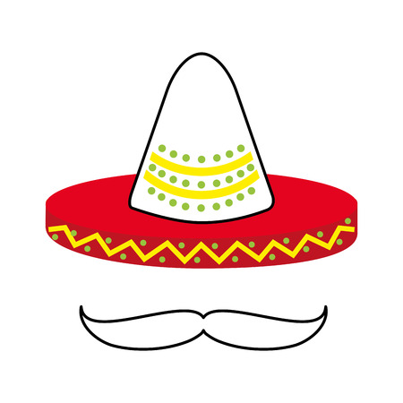 mexican hat and mustache culture symbol vector illustration