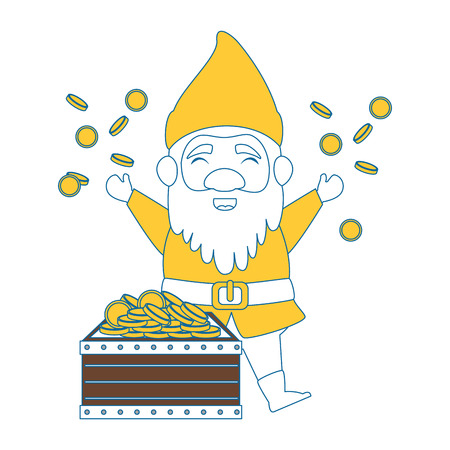cute elf with treasure chest character vector illustration design