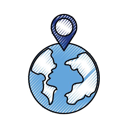Puntatore del mondo globo mappa posizione web illustrazione vettoriale Archivio Fotografico - 88448324