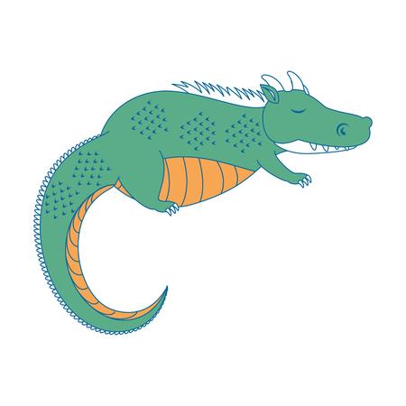 fantasy dragon with wings vector illustration design Illustration