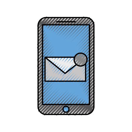 이메일 통신 디지털 가상 벡터 일러스트를 수신하는 스마트 폰